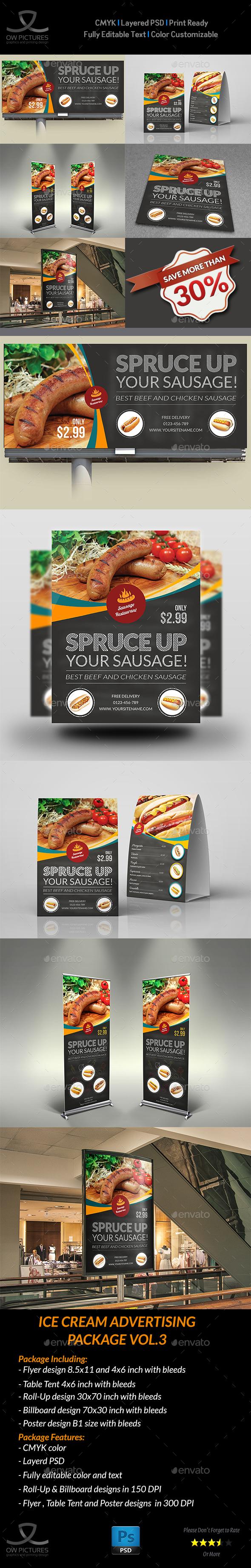 Sausage Restaurant Advertising Bundle - Signage Print Templates