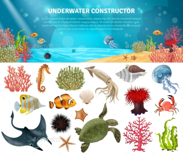 Sea Life Constructor Isolated Icons Set - Animals Characters