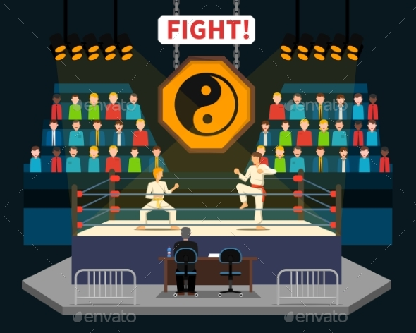 Martial arts Fight Illustration - Sports/Activity Conceptual