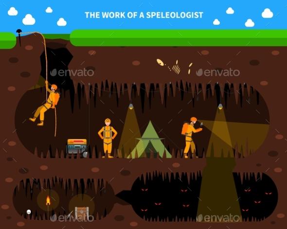 Speleologists Cave Exploration Flat Background - Miscellaneous Conceptual