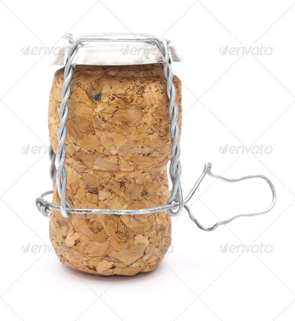 Champagne cork with metal wire - Stock Photo - Images