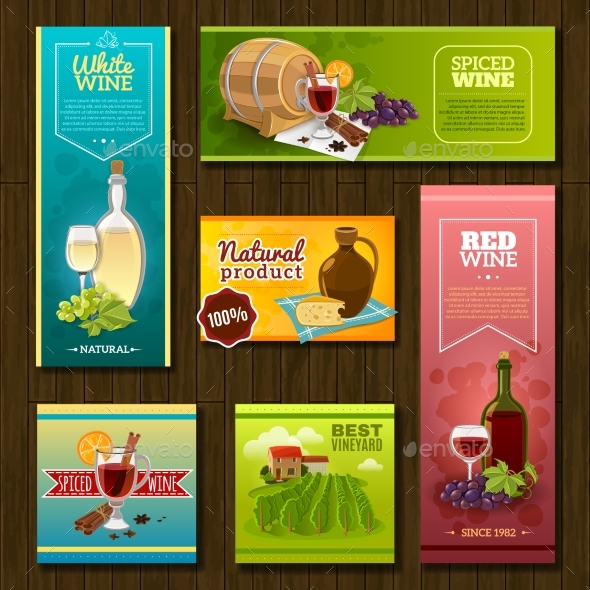 Wine Banners Set - Food Objects