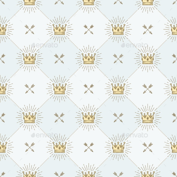 Seamless Background with Royal Crown and Crossed Arrows  - Backgrounds Decorative