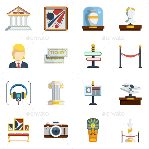 Museum Flat Icon Set - Icons