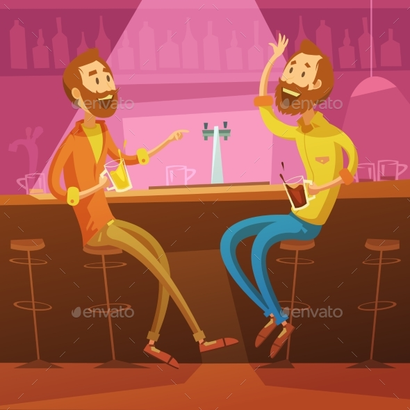 Friends in the Bar Illustration  - People Characters