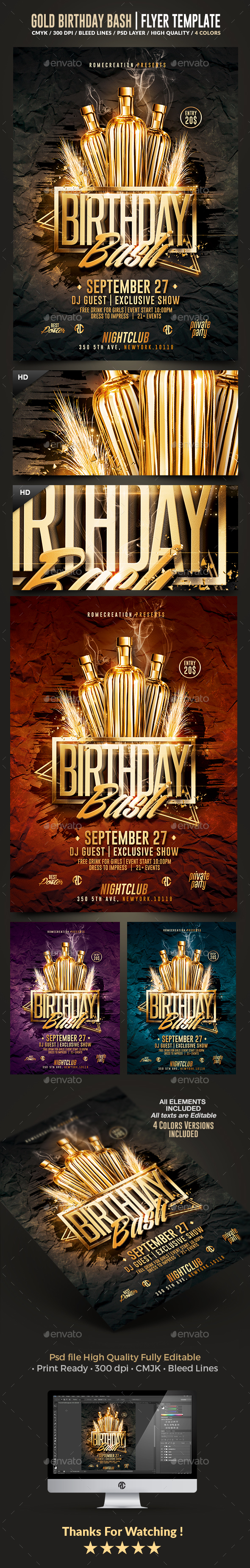 Gold Birthday Bash | Psd Flyer Template - Flyers Print Templates