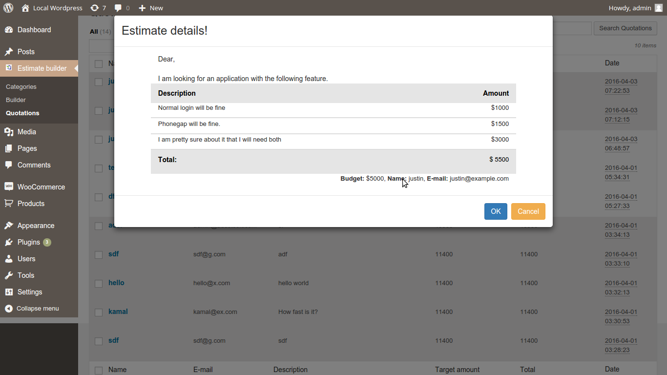 Estimate builder by kmb645 codecanyon for Builder estimate