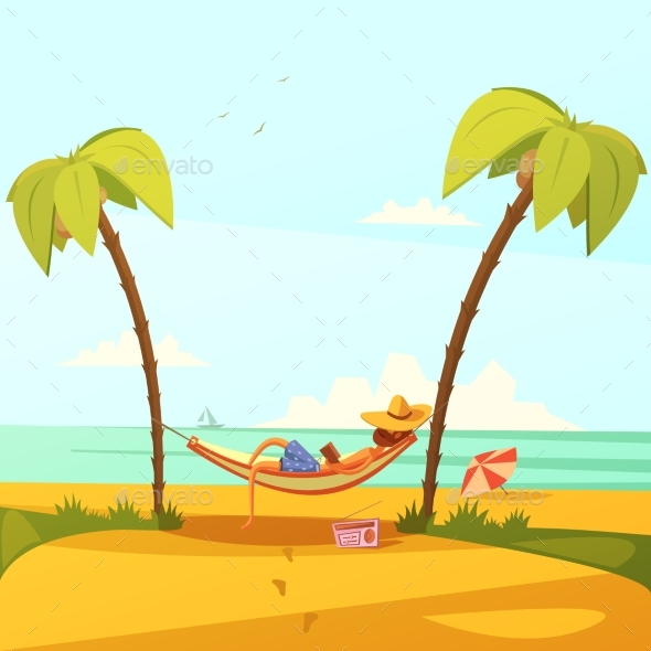 Man on the Beach Illustration - Travel Conceptual