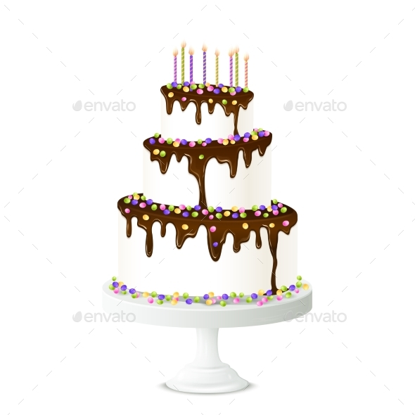 Birthday Cake Illustration - Food Objects