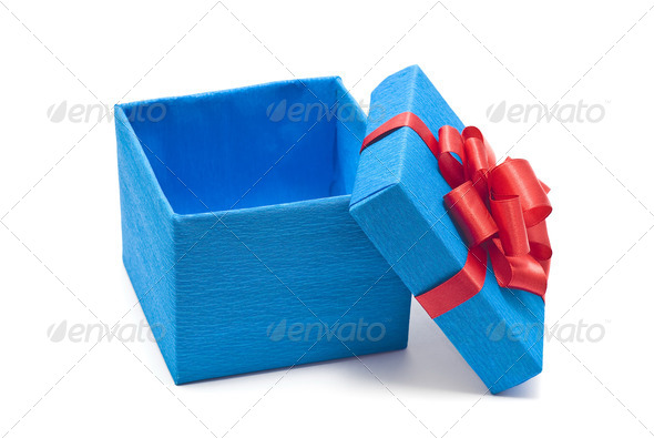 Open blue gift box with red bow - Stock Photo - Images