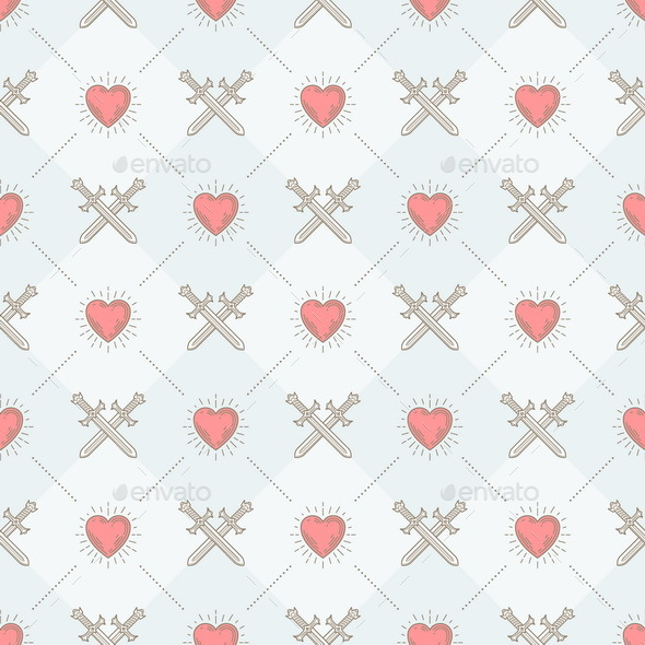 Seamless Background with Crossed Swords and Sunburst Heart - Backgrounds Decorative