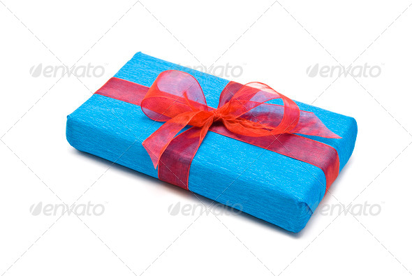 Blue gift box with red bow - Stock Photo - Images
