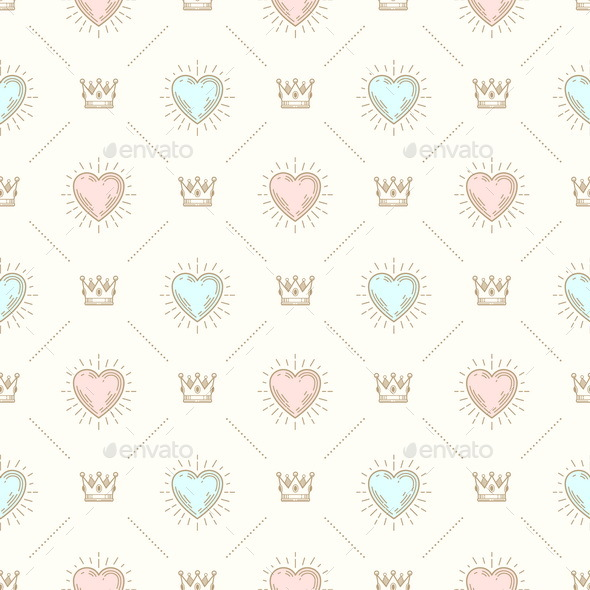 Seamless Background with Royal Crown and Sunburst Heart  - Backgrounds Decorative