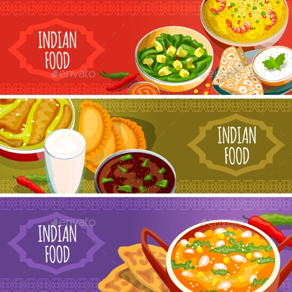 Indian Food Horizontal Banners Set  - Food Objects