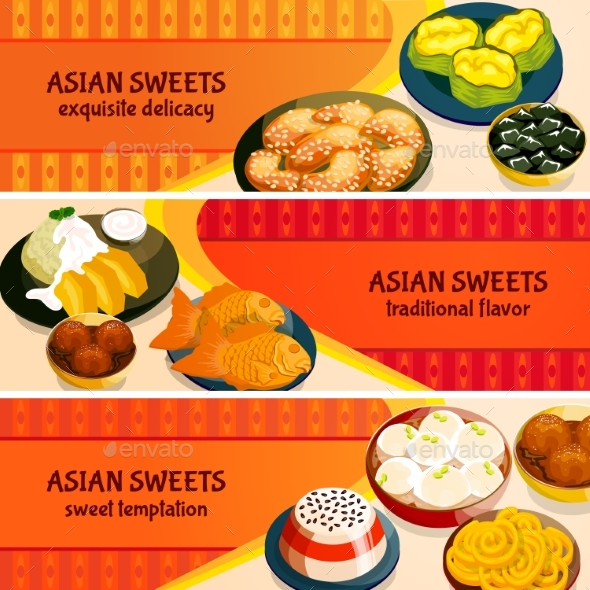 Asian Sweets Horizontal Banners Set - Food Objects