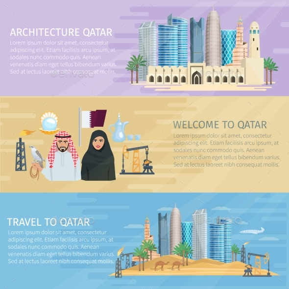 Qatar Horizontal Banner Set - Travel Conceptual