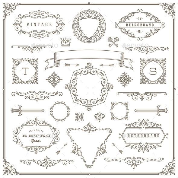 Set of Vintage Design Element - Borders Decorative
