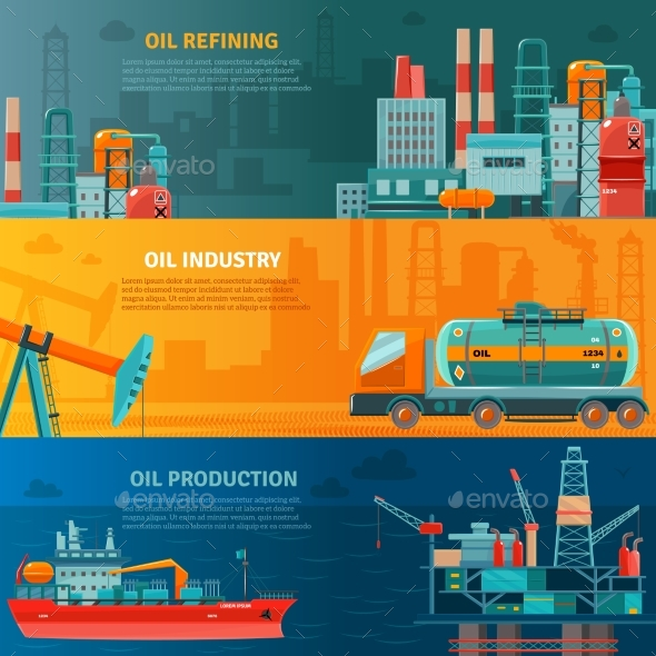 Oil Industry Horizontal Banners Set  - Industries Business