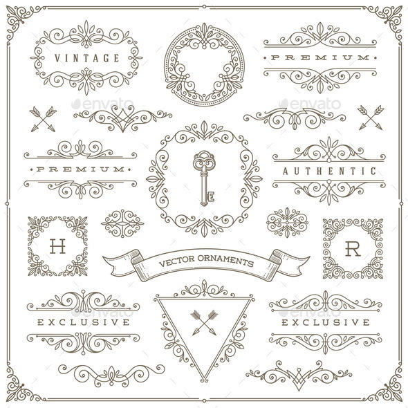 Set of Vintage Design Element - Borders Decorative