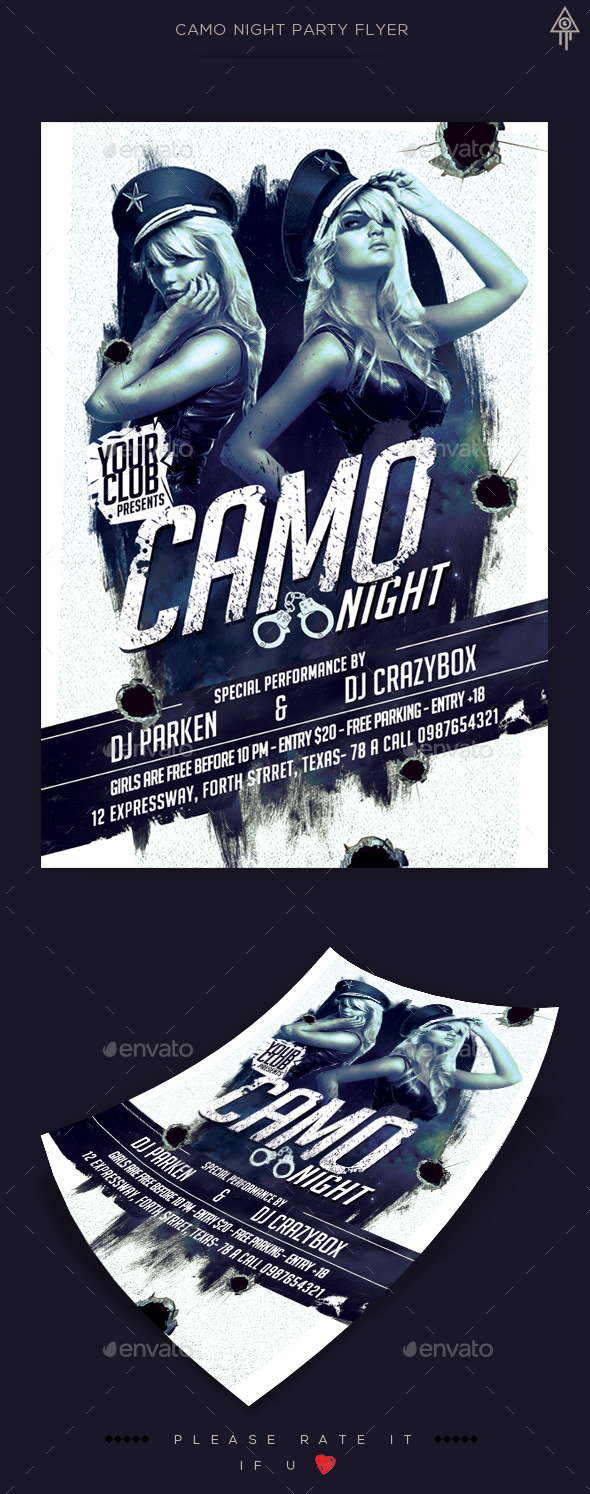 Camo Night Party Flyer - Clubs & Parties Events