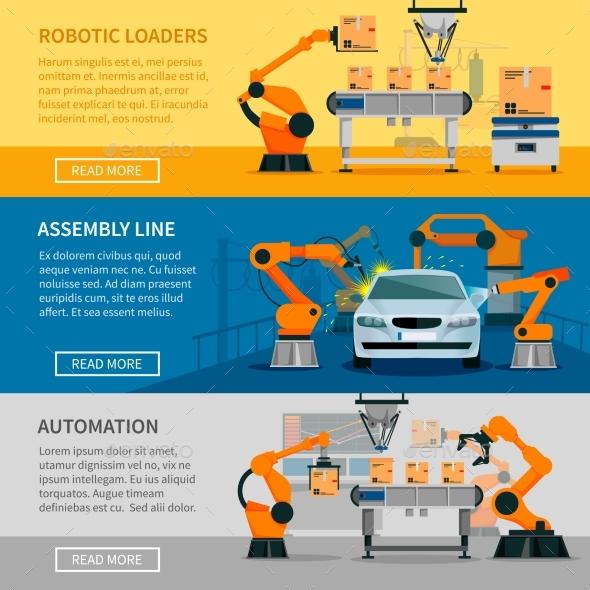 Automation Banners Set  - Technology Conceptual