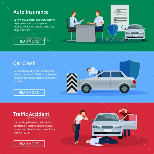 Auto Insurance Horizontal Banner Set  - Concepts Business