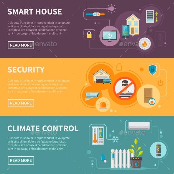 Smart House Horizontal Banners Set - Communications Technology