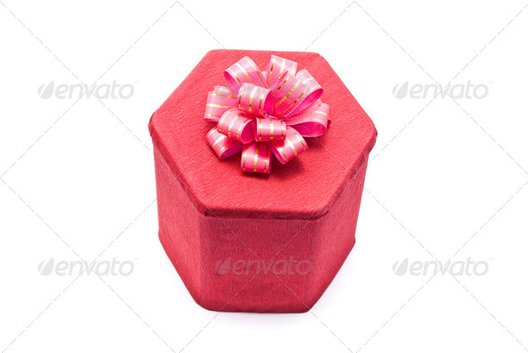 Red gift box with bow - Stock Photo - Images