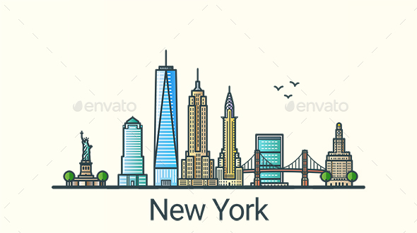 Line Flat New York Banner - Buildings Objects