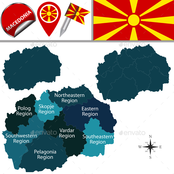 Map of Macedonia with Statistical Regions - Travel Conceptual