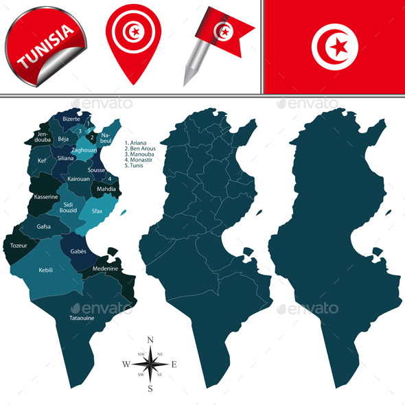 Map of Tunisia with Named Governorates  - Travel Conceptual