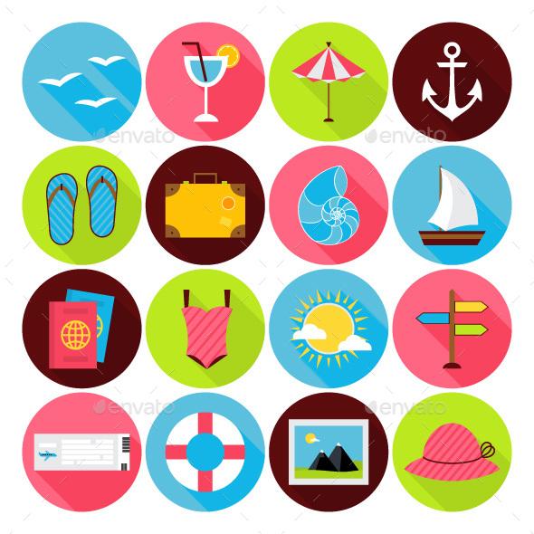 Summer Vector Flat Icons - Seasonal Icons