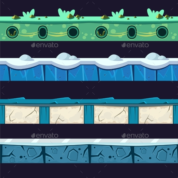 Water And Ice Platformer Level Floor Design Set - Landscapes Nature