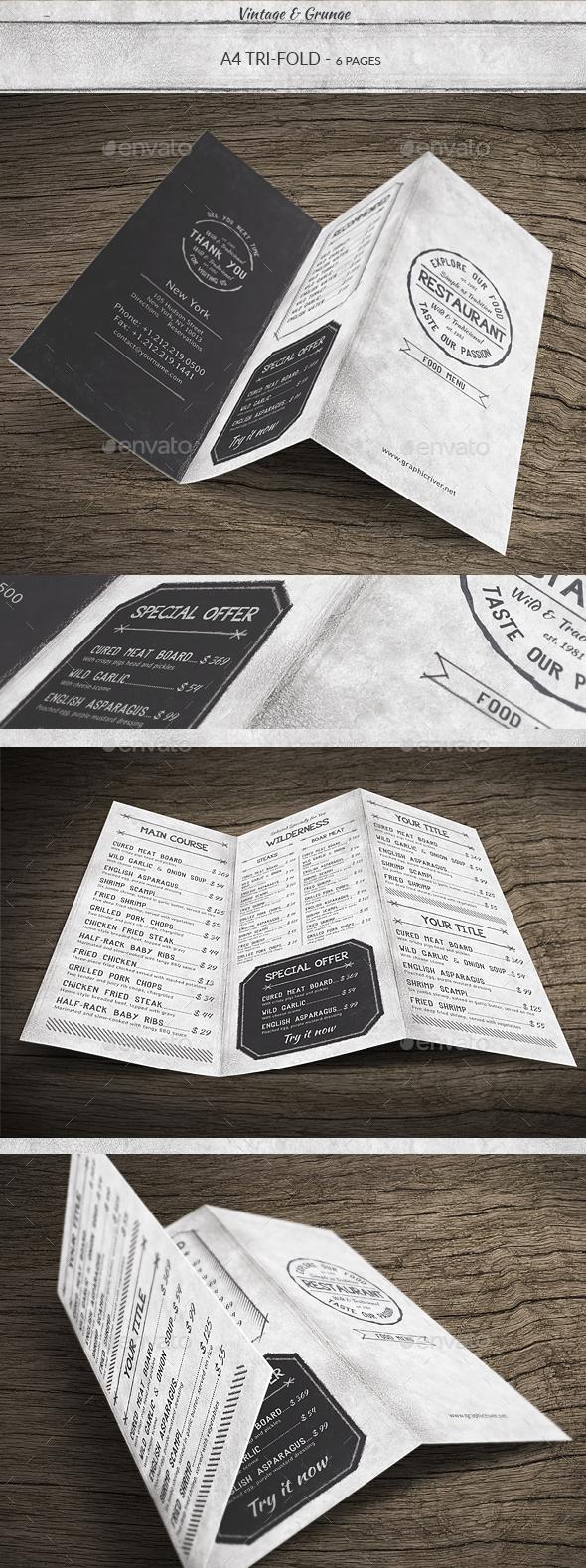 Vintage A4 Trifold Menu - Food Menus Print Templates