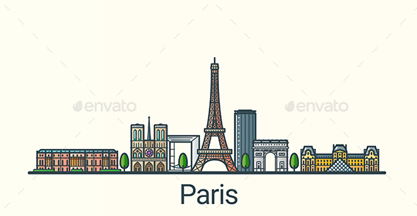 Line Flat Paris Banner - Buildings Objects