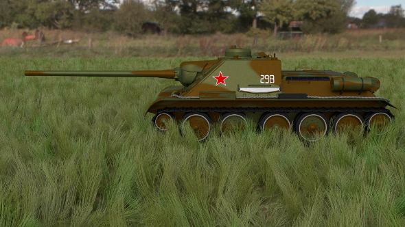 SU 100 Tank Destroyer HDRI Camo - 3DOcean Item for Sale