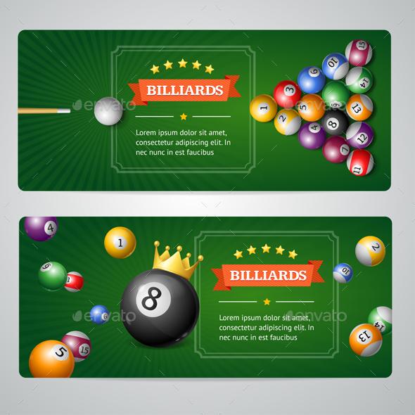 Billiards Banners Set - Backgrounds Decorative