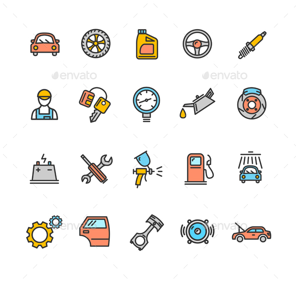Car Service Icon Color Set - Man-made Objects Objects