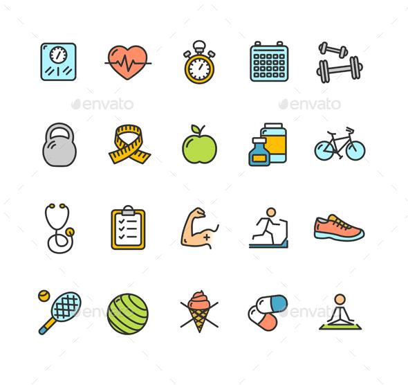 Health Fitness Icon Color Set - Health/Medicine Conceptual