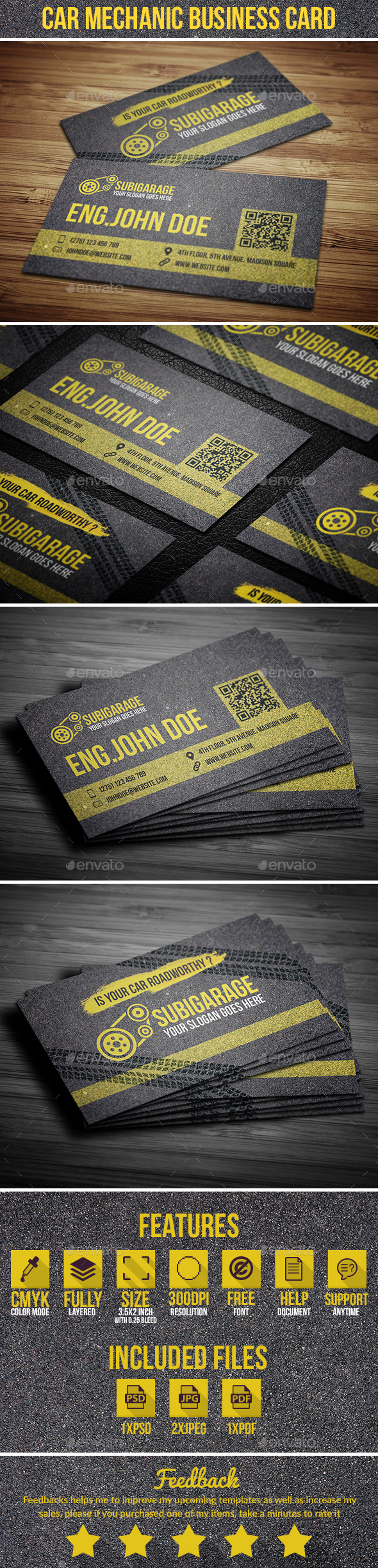 Car Mechanic Business Card - Industry Specific Business Cards