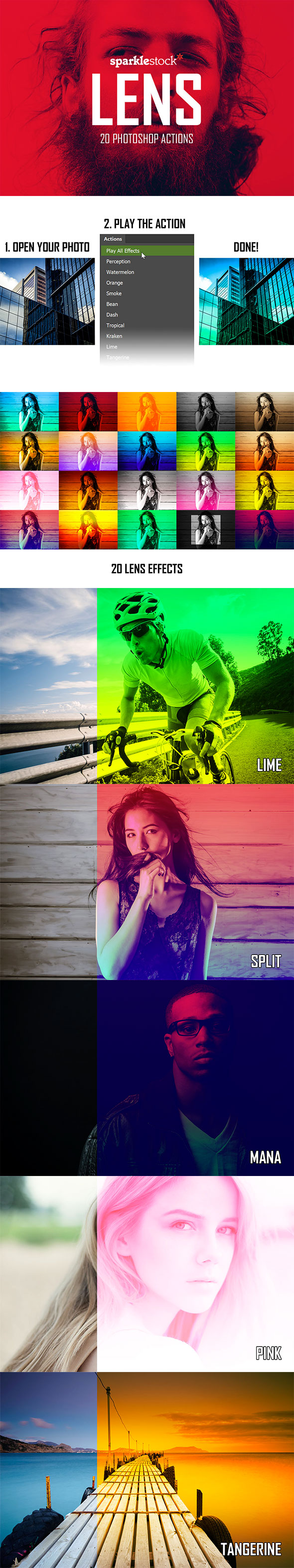 Lens - 20 Vibrant Effects - Photo Effects Actions