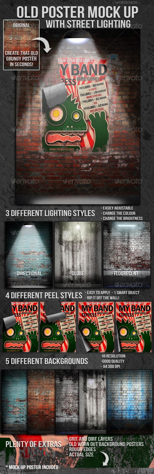 Old Poster Mock Up with Street Lighting - Posters Print