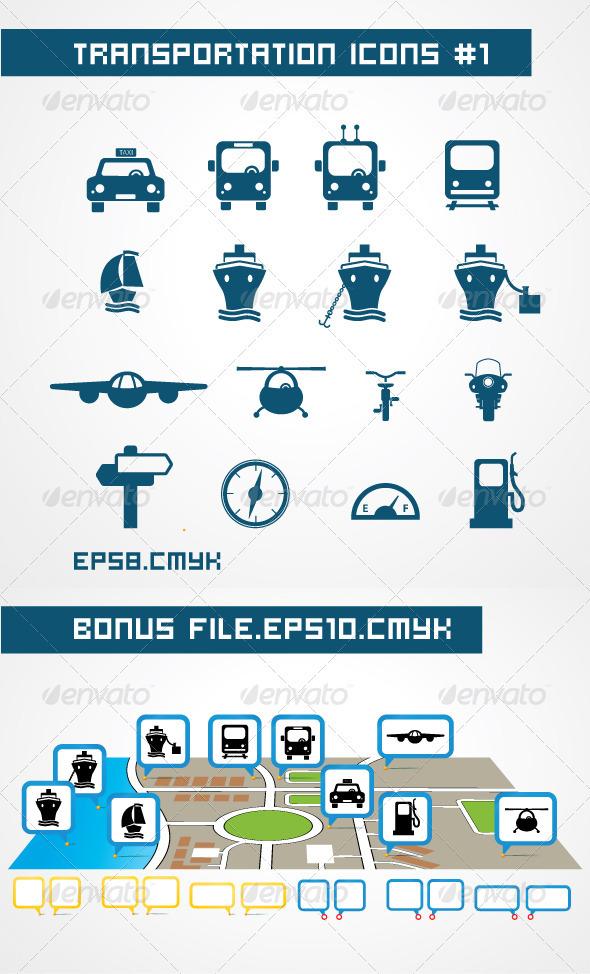 Tranportation icons - Web Elements Vectors