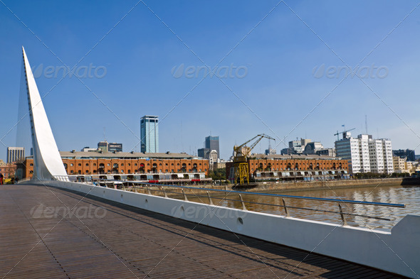 Puente de la Mujer and Puerto Madero - Stock Photo - Images