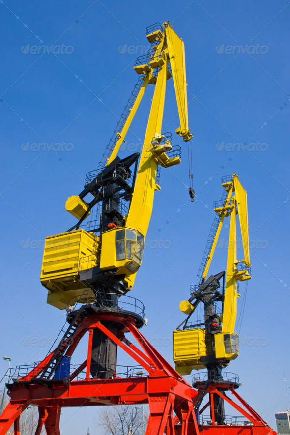 Two cranes in Puerto Madero - Stock Photo - Images