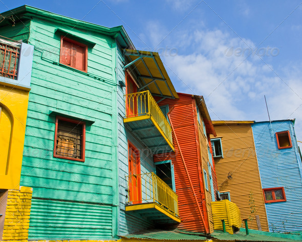 Colourful buildings in La Boca - Stock Photo - Images