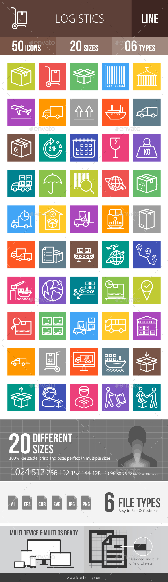 Logistics Line Multicolor Icons - Icons