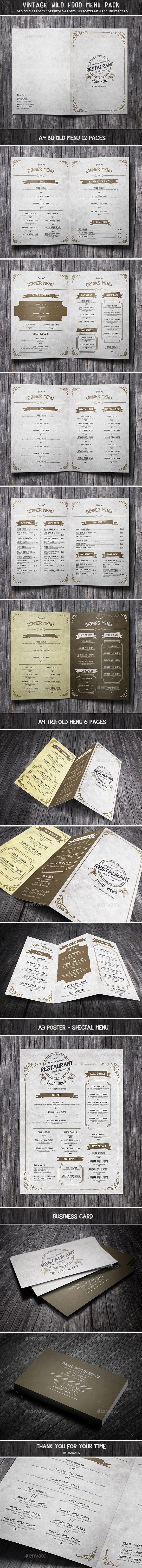 Vintage Wild Food Menu Pack - Food Menus Print Templates