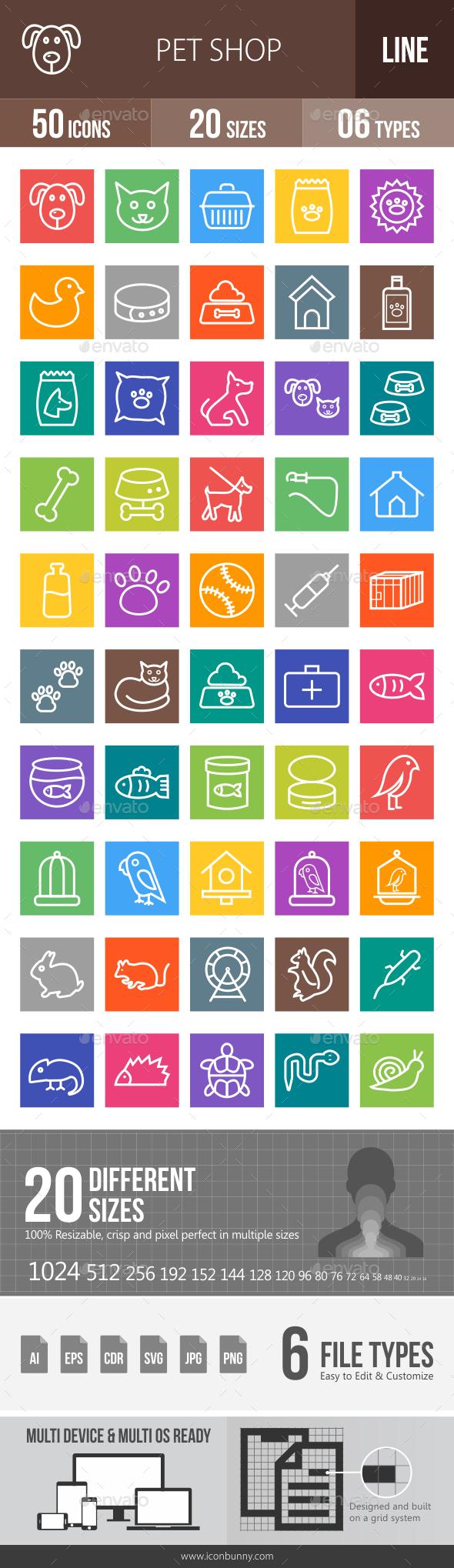 Pet Shop Line Multicolor Icons - Icons