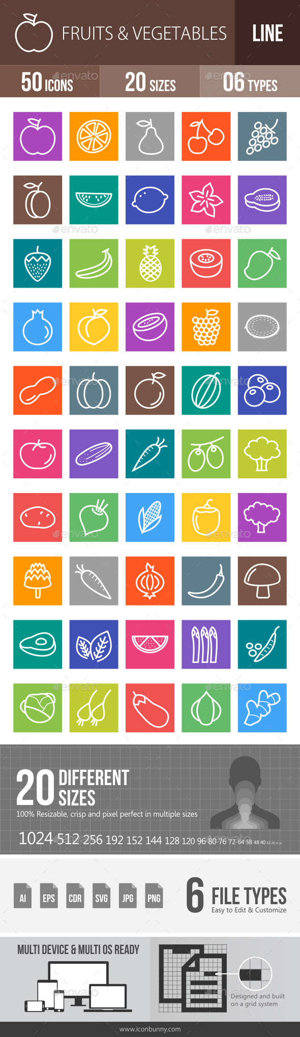 Fruits & Vegetables Line Multicolor Icons - Icons